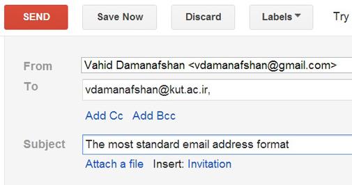 فرمت استاندارد آدرس ایمیل